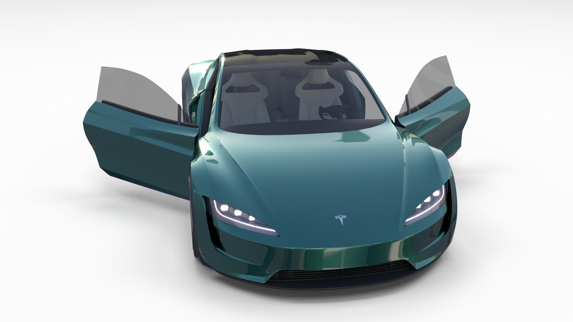 Tesla Roadster Green with Interior Roadster, Tesla,
