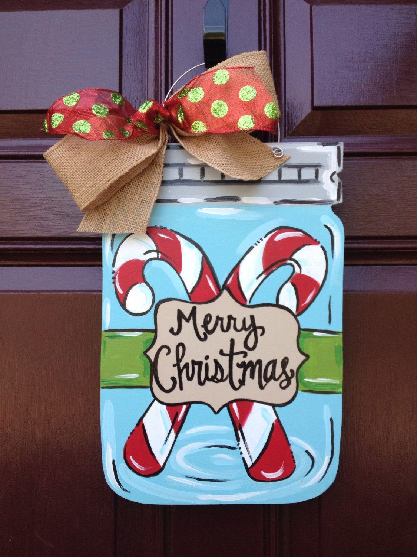 Christmas mason jar door hanger/candy cane door hanger/christmas door hanger by TheGildedPolkaDot & Christmas mason jar door hanger/FAST SHIP/candy cane door hanger ...