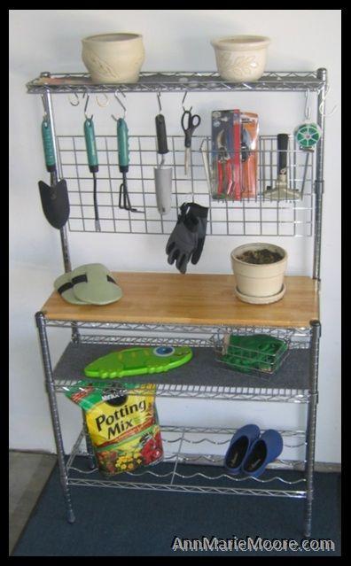 Baker S Rack Turned Potting Table Potting Station Garden Tool