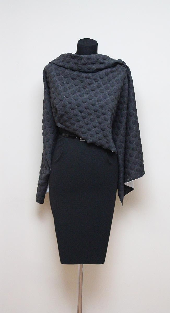 SALE!!! Mid Weight Quilted Cloqué Jersey (Spots: Dark Charcoal) – The Textile Centre