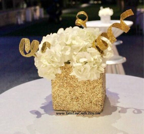 4 X 4 Square Glitter Vase Wedding Centerpiece Baby Shower Decor