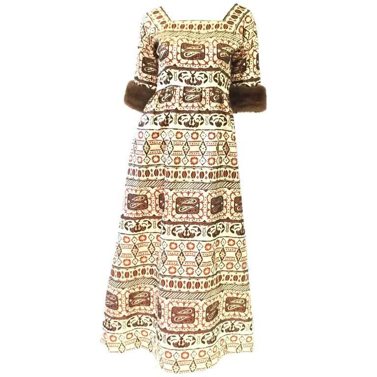 5a6525d2eac40 1970s Oscar de la Renta Gold Brocade Evening Dress with Mink Cuff