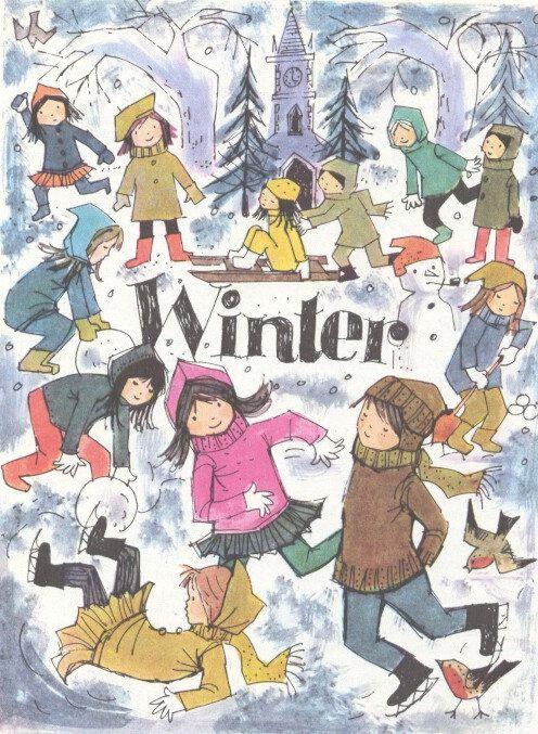 Four Seasons WINTER - 1950s vintage children's illustration