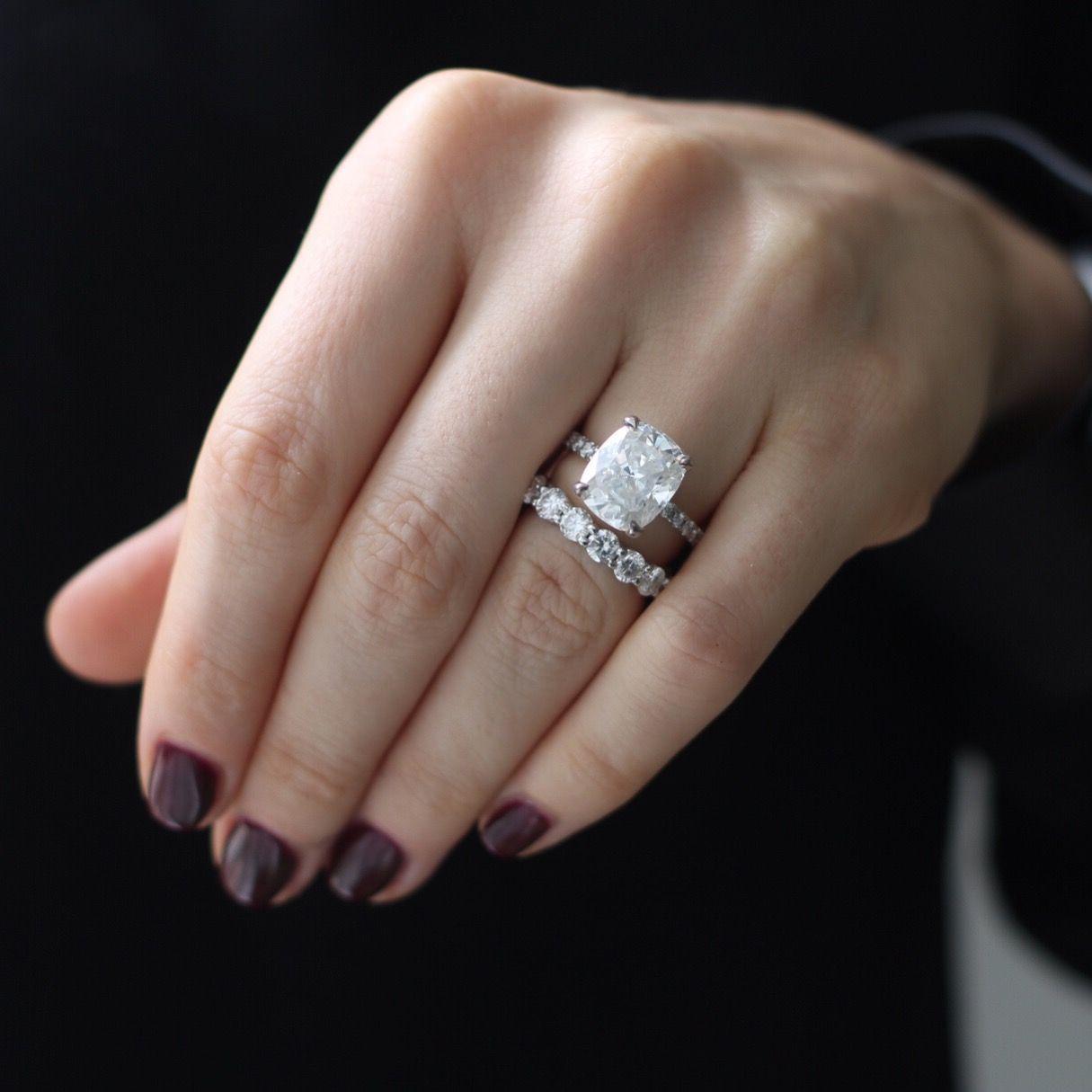 3b70f6987 Elongated Cushion Cut Harro Gem Crushed Ice Moissanite Engagement ring.  Matching moissanite eternity band 3.5