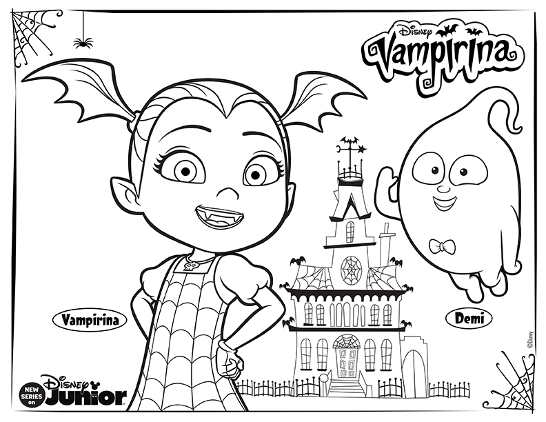 Meet Vee And Demi Her Ghostly Sidekick Download This Fun Coloring Sheet For Your Littl Disney Coloring Pages Halloween Coloring Pages Coloring Pages For Kids