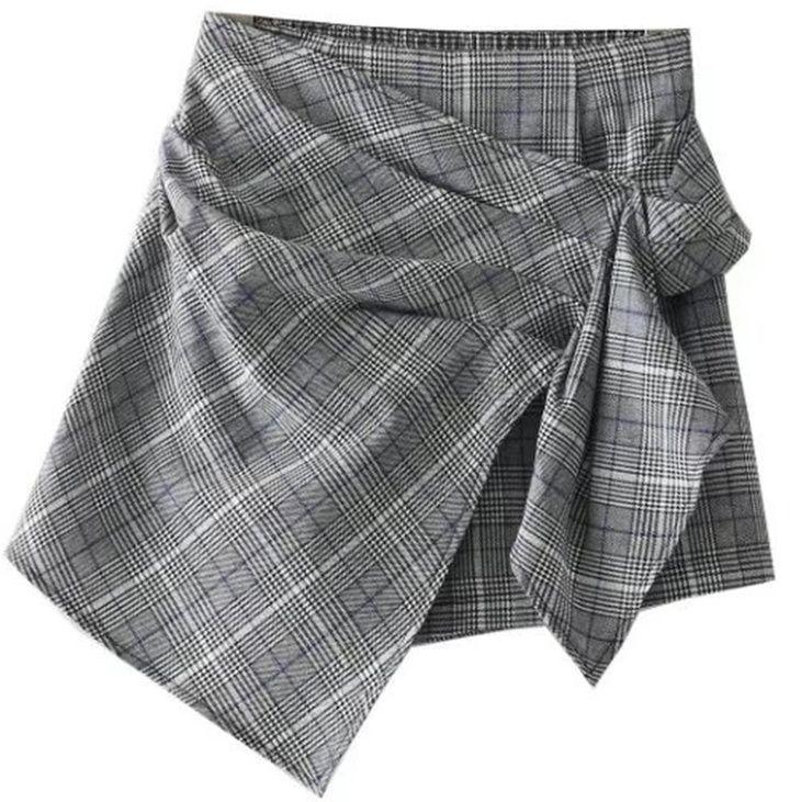c614084ee760 Shein Asymmetrical Wrap Plaid Skort | F A S H I O N | Wrap skort ...