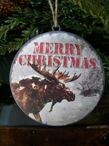 NWT-6-Rustic-MOOSE-Snow-Post-Card-Scene-Metal-CHRISTMAS-Domed-Disk-Ornament