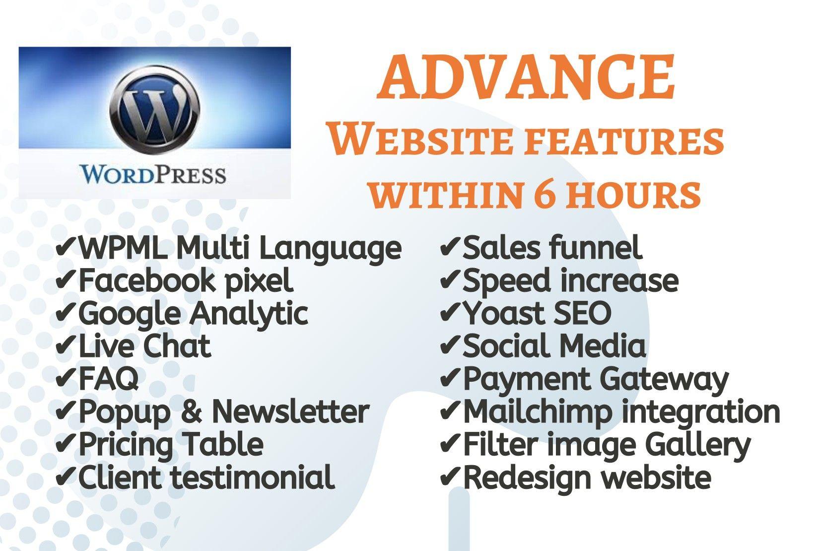 Special Features of website. #FAQ #WPML # FacebookPixel #GoogleAnalytic #LiveChat #Popup #NewsLetter...