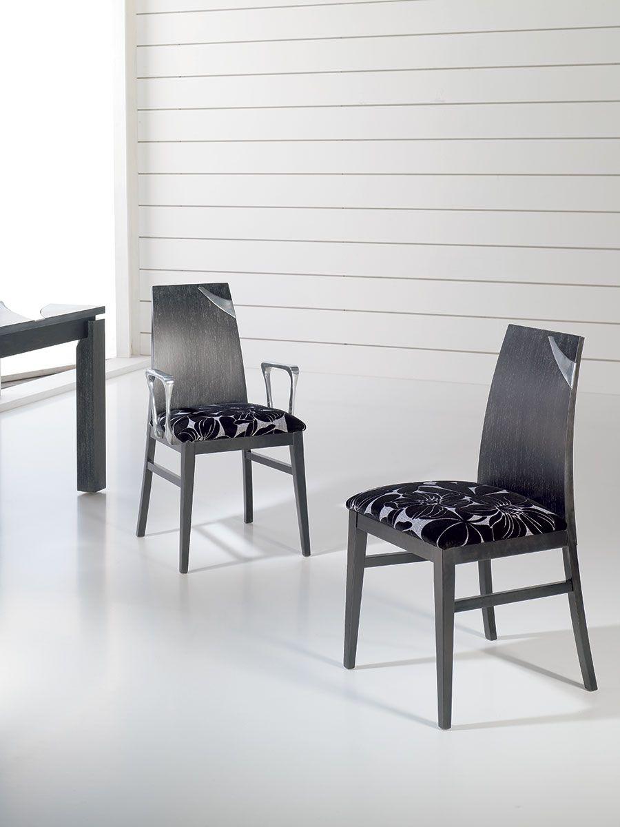 Chaise de salle à manger contemporaine avec assise en tissu