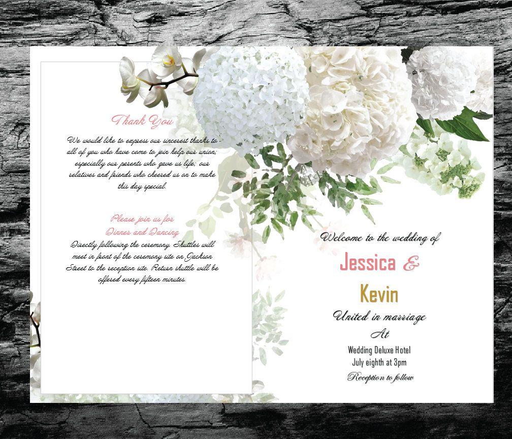 Printable Wedding Program White Hydrangeas Printable Wedding Progra In 2021 Printable Wedding Program Template Printable Wedding Programs Wedding Programs Template Microsoft office wedding program template