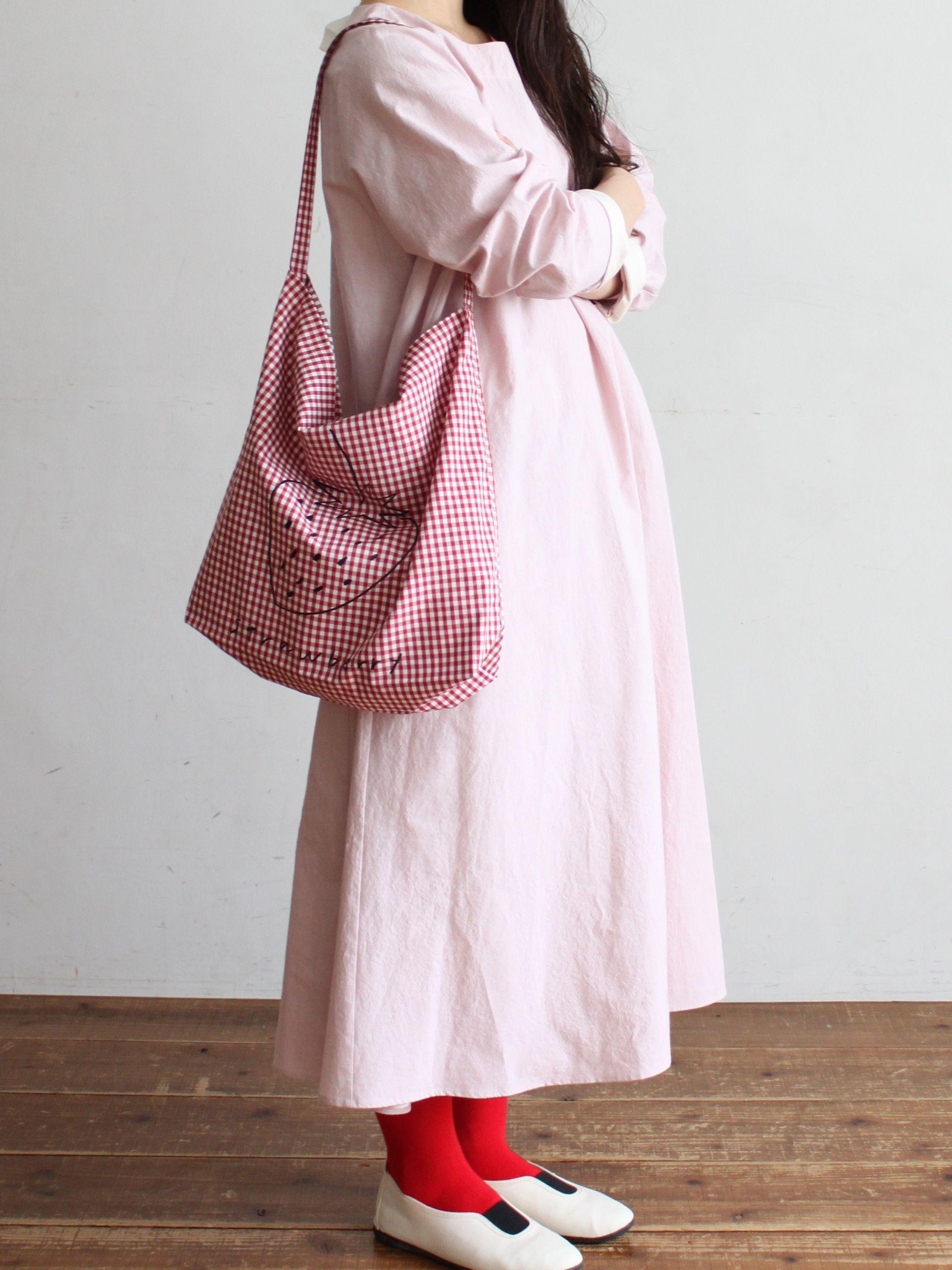 pot and tea バックリボンコットンワンピース potandtea ポットアンドティー casualdress pink gray cottondress backribbon fashion madeinjapan craft h ファッション コットン ワンピース リボンバック
