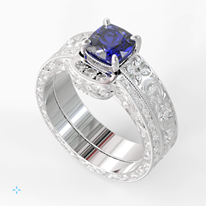 Gorgeously elegant sapphire stone in an antique ring setting.