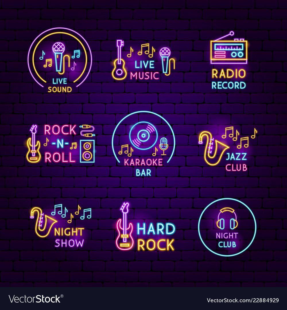 Music Neon Label Set Vector Image On Vectorstock Neon Design Neon Wallpaper Neon Light Art