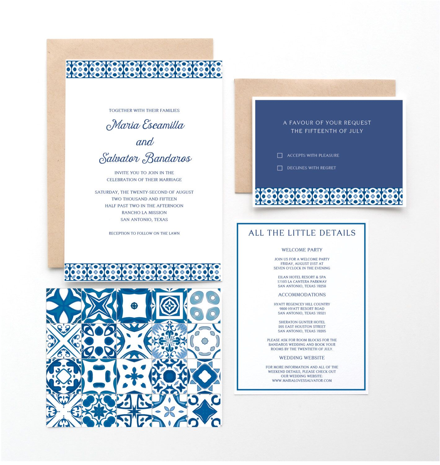 Spanish Tile Wedding Invitation, Mexican or Spanish Destination ...