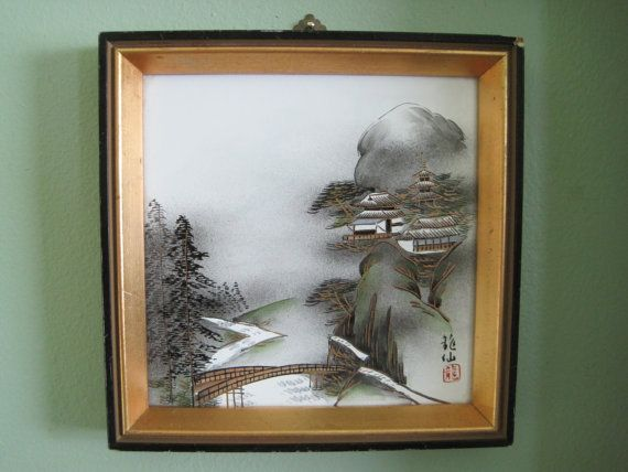 Asian Wall Art Japanese Painting Framed On Ceramic Vintage Etsy Asian Wall Art Japanese Painting Painting Frames