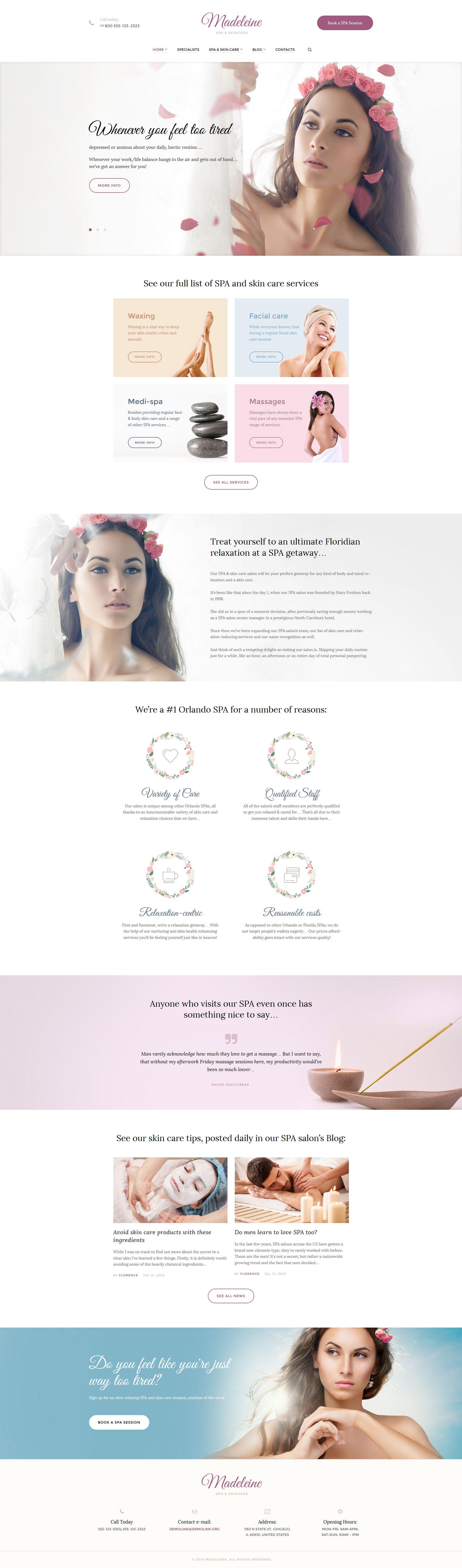 Madeleine Spa Skincare WordPress Theme http://www.templatemonster.com/wordpress-themes/beauty-salon-responsive-wordpress-theme-59014.html