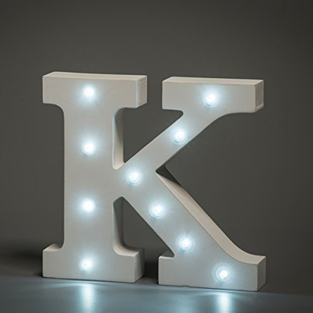 White Led Wooden Letter K Lights Sign 6 Inch Wooden Letters Stand Up Light Letters Light Up Letters Wooden Letters