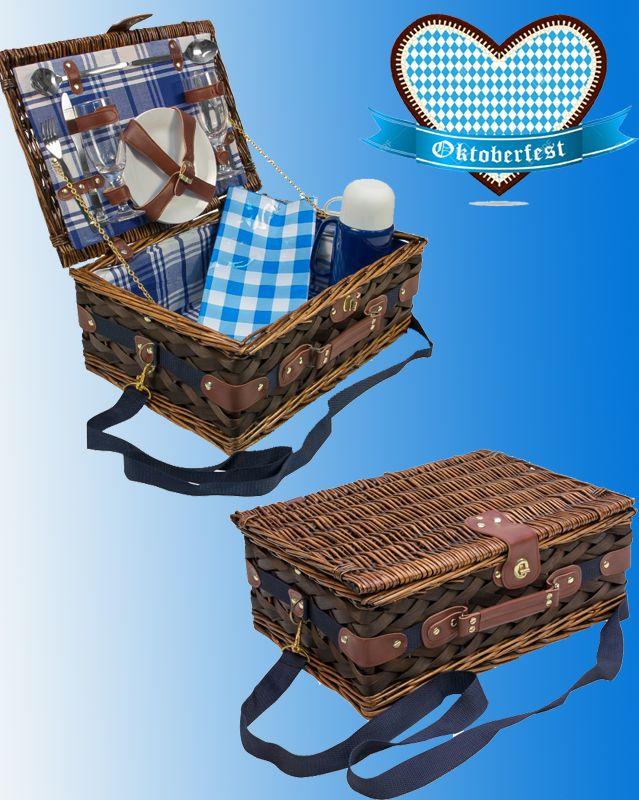 Picknickkorb Picknick Korb Weidenkorb - Geschirr Gläser Besteck - haus garten freizeit