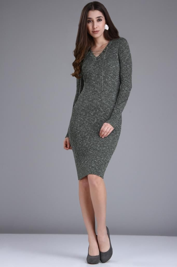 Patirti V Yaka Bagcik Detay Triko Haki Elbise Elbise Elbise Modelleri The Dress