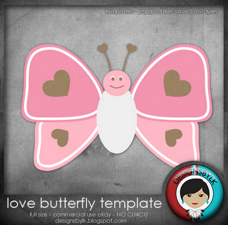 love butterfly template