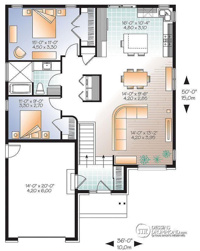 Plan maison 2 facades for Plan maison cuisine ouverte