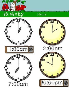 Analog And Digital Clocks By The Hour 49 300dpi Color Items
