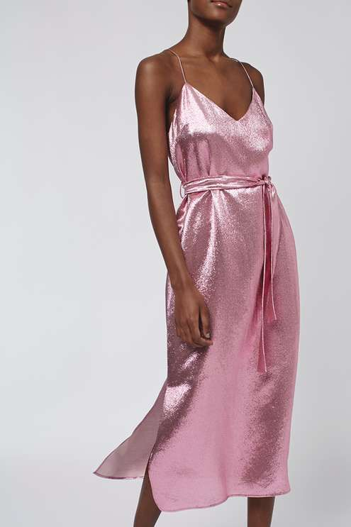 Layered Lamé Panel Dress By Boutique