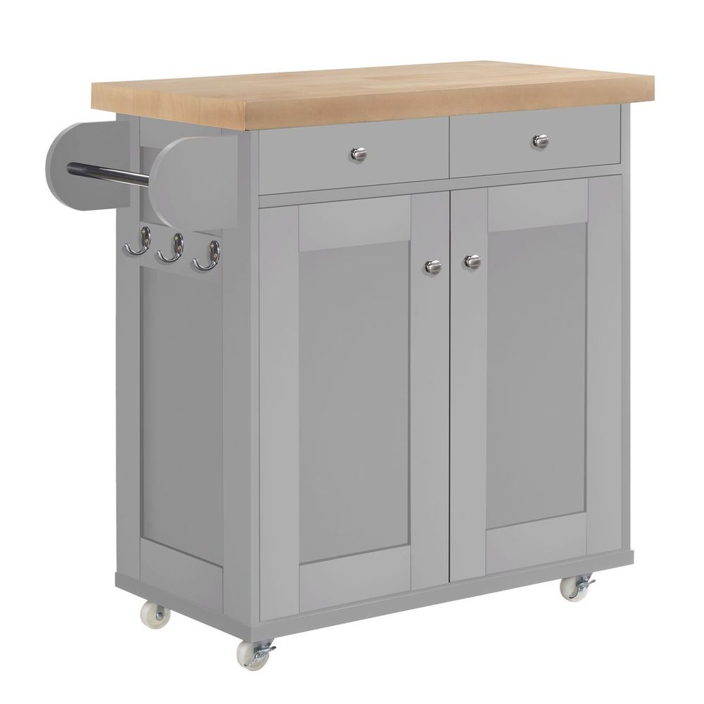 Portable Trolley Cart Kitchen Island Oak Top Matte Grey