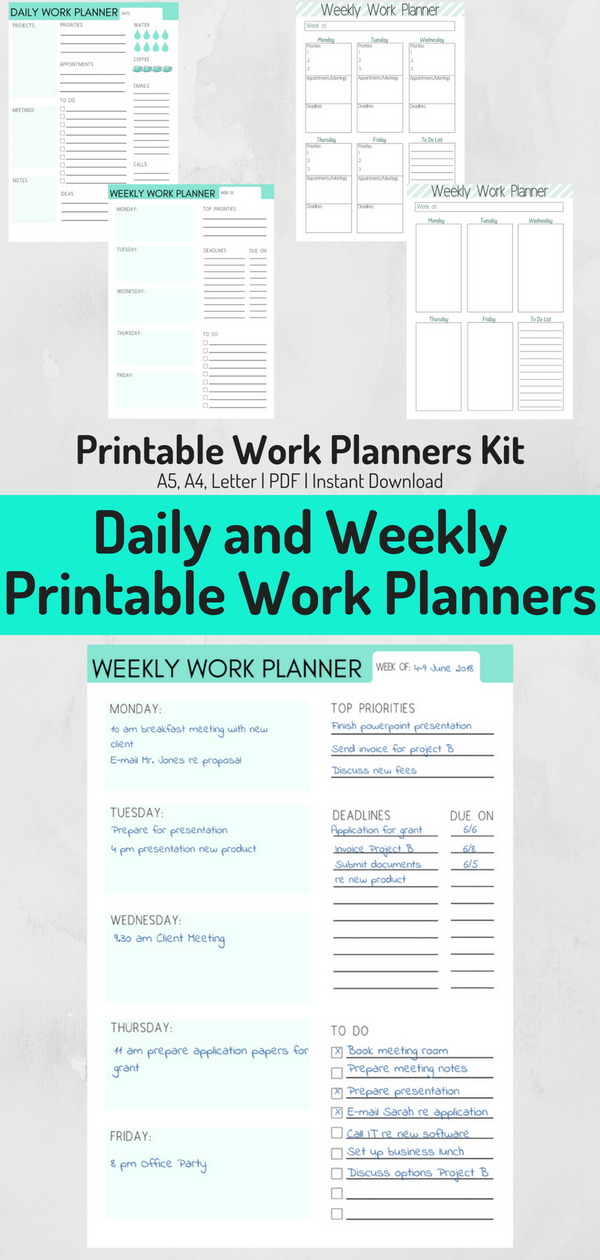 Plan out your workday and workweek with these printable work