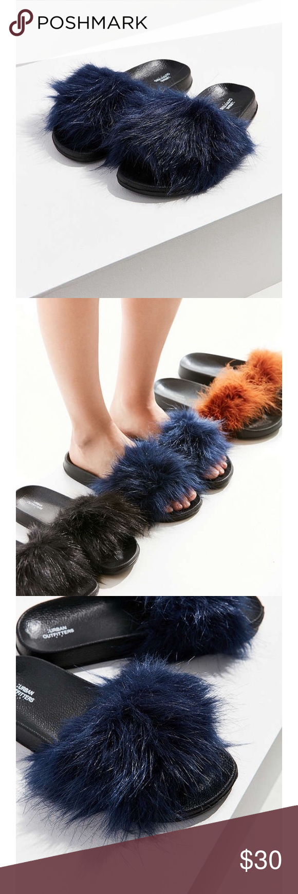 e1bca3217106 Urban Outfitters Furry Navy Blue Sliders Brand new with Tags. Cute and soft  furry Sliders. Urban Outfitters Shoes Slippers