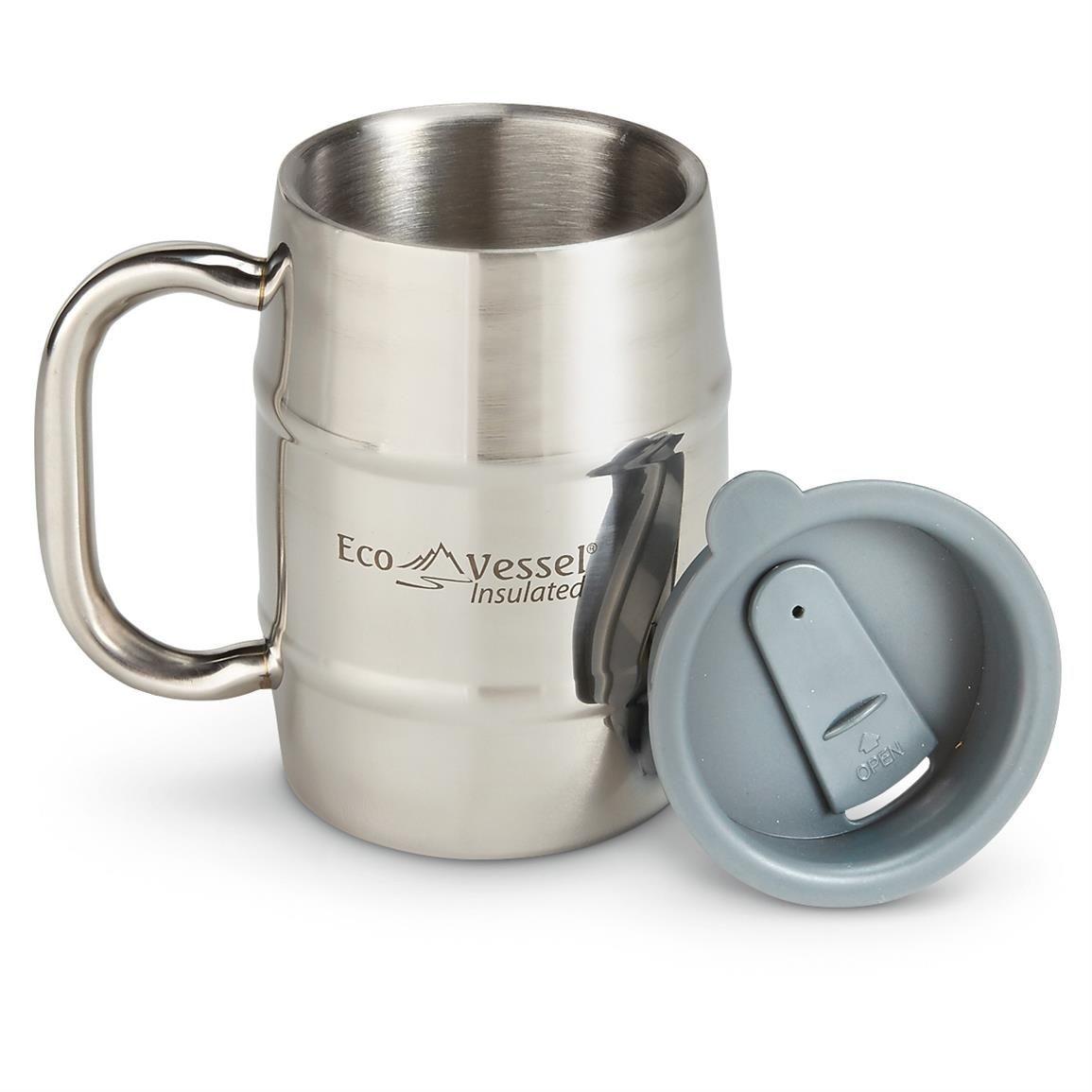 Eco Vessel Double Barrel Insulated Beer Coffee Mug 16 Oz