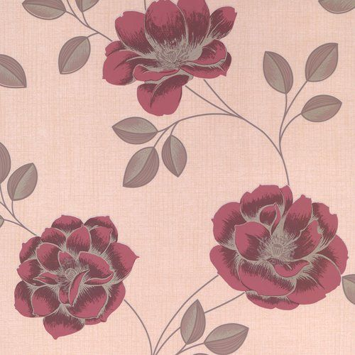 Superfresco Flavia 10m L x 52cm W Floral and Botanical Roll Wallpaper is part of Red Home Accessories Colour -