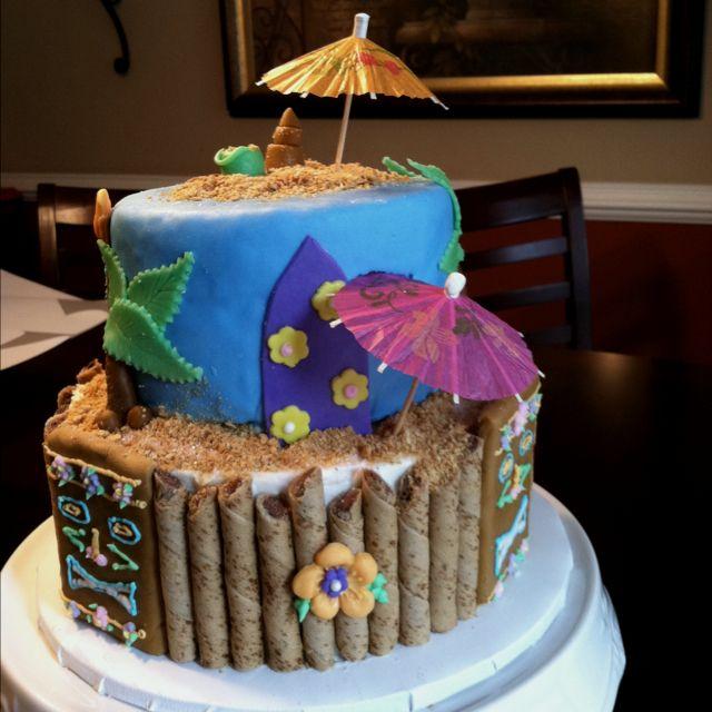 Magnificent Tiki Luau Cake With Images Luau Cakes Tiki Cake Cupcake Cakes Funny Birthday Cards Online Elaedamsfinfo
