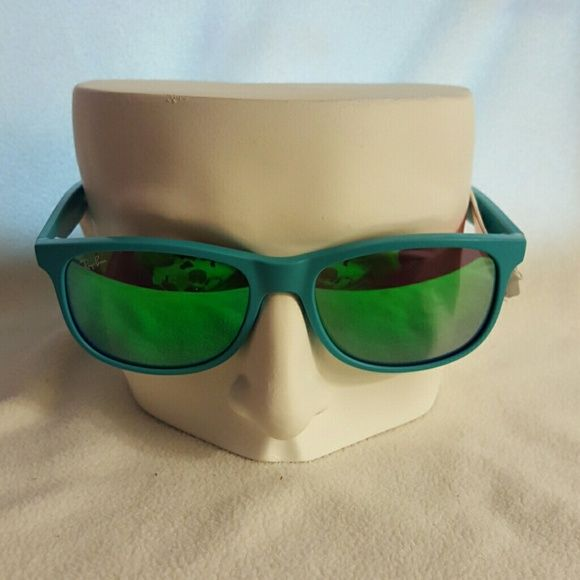 1cddf31aa Rayban Andy Wayfarer Sunglasses Green flash sunglasses with turquoise frame.  Brand new, never worn and with case. Ray-Ban Accessories Sunglasses