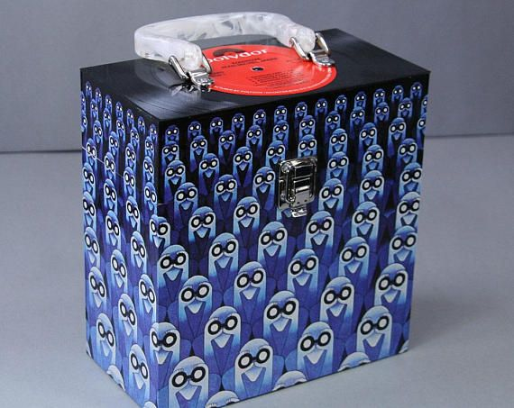 7-inch Vinyl 45 Record Case - Handmade from Recycled Record