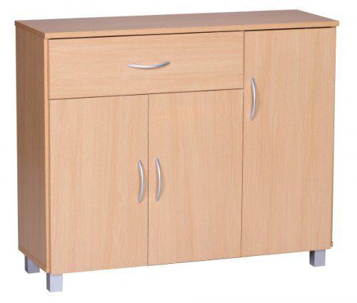 Regalsystem holz mit türen  FineBuy Sideboard 1 Schublade 3 Türen 90 cm breit 75 cm hoch 30 cm ...