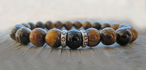 Mens Bracelet pour hommes Tiger eye bracelet par JaneRJewelry