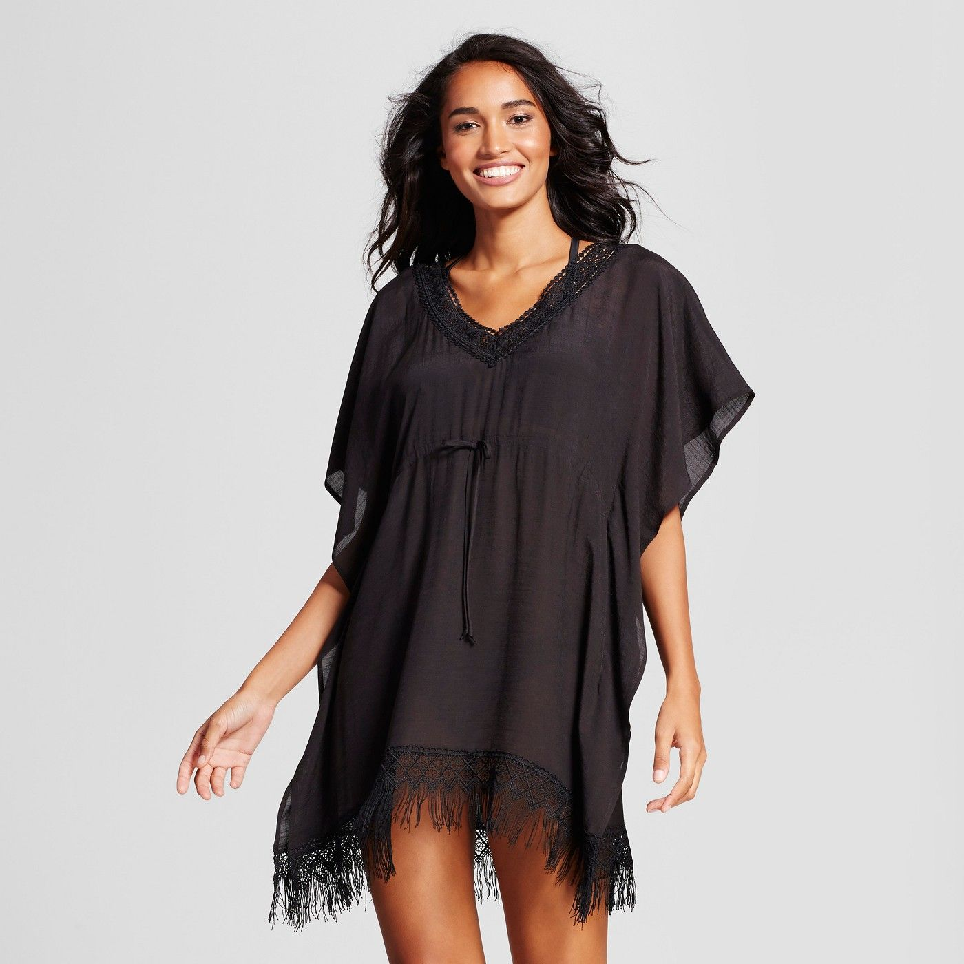 4a84e0e7cde7 orderedCover 2 Cover Women's Fringe Poncho Cover Up Dress - Black S : Target