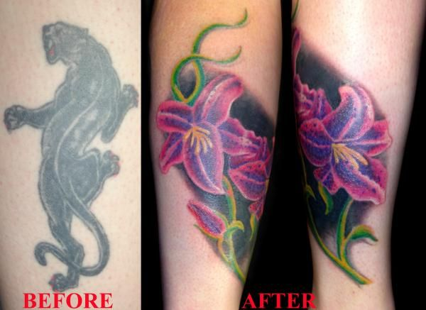 Tattoo Cover Ups Over Dark Ink Cover Up This One Was Tricky To Do