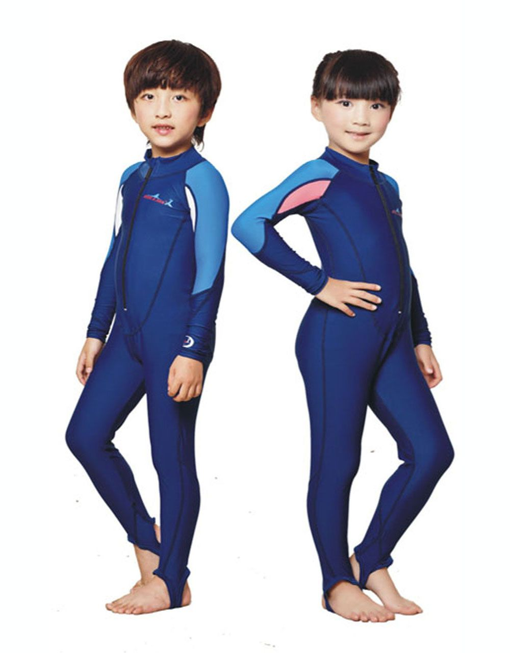 a026243def7 Kids Swim Suit Youth Basic Skins Long Sleeve Jumpsuit Crew Rash Guard Shirt…