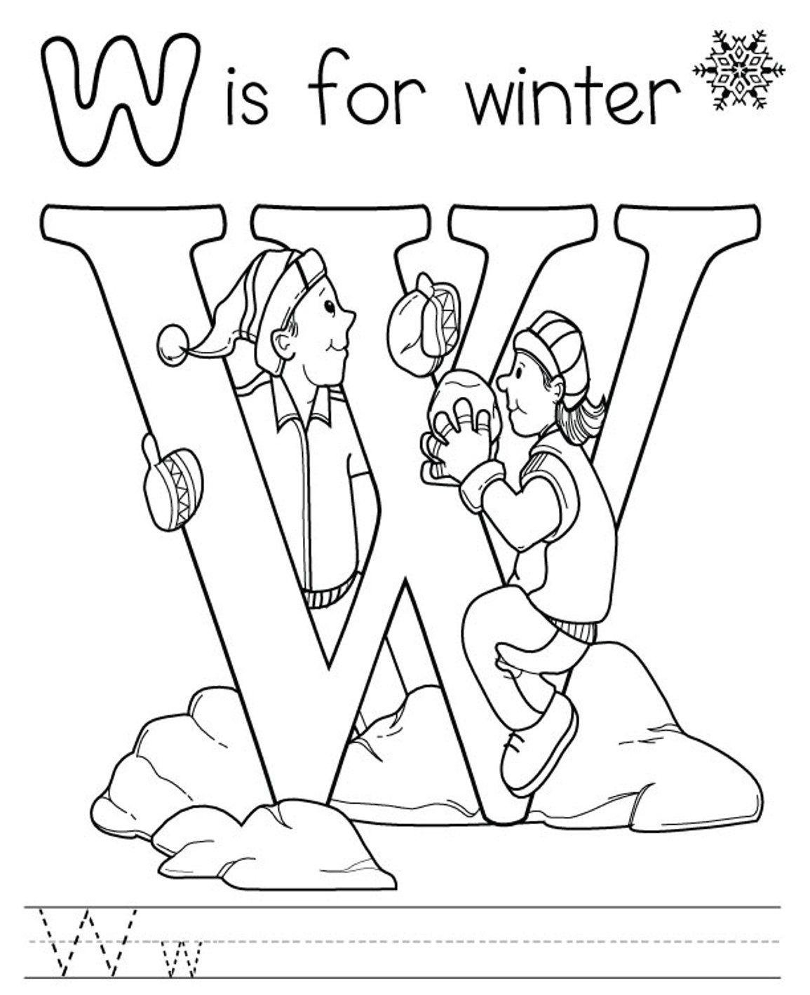 Winter Free Alphabet Coloring Pages