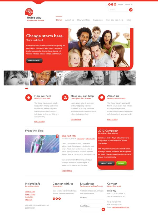 United Way By Brad Harris Via Behance Web Design Web Design Inspiration Clean Web Design
