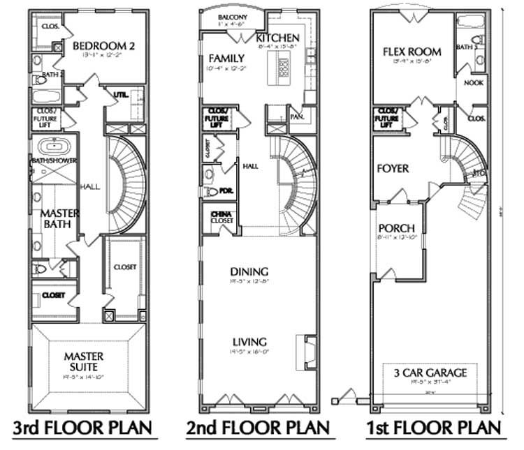 townhouse plan e1 149 a3211b narrow lots pinterest