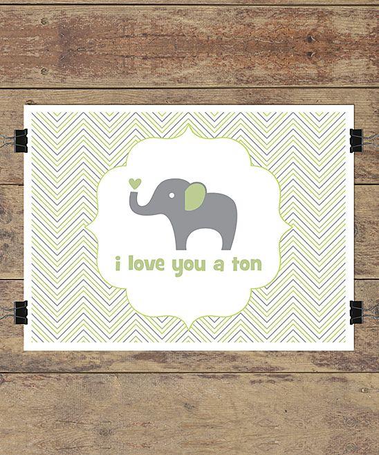 Green 'I Love You a Ton' Wall Quotes™ Giclée Art Print