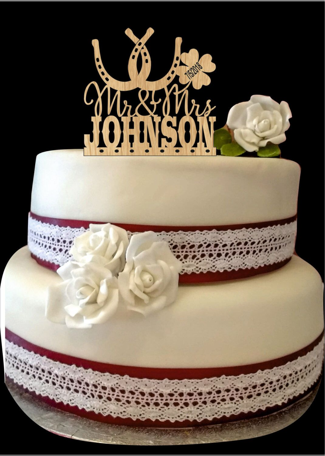 Horseshoe wedding cake topper country wedding cake topper rustic