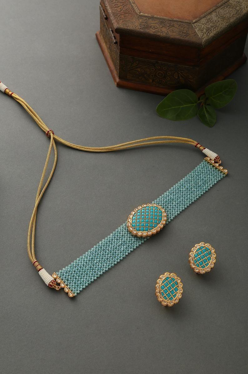 Turquoise Gold Tone Kundan Inspired Stones Choker