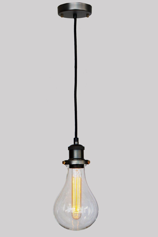 Purelume Retro Lampe Teardrop Mit Glaskuppel Pendelleuchte Inkl 40w Edison T18 Tube Leuchtmittel Amazon De Beleuchtung Retro Lampe Lampen Leuchtmittel