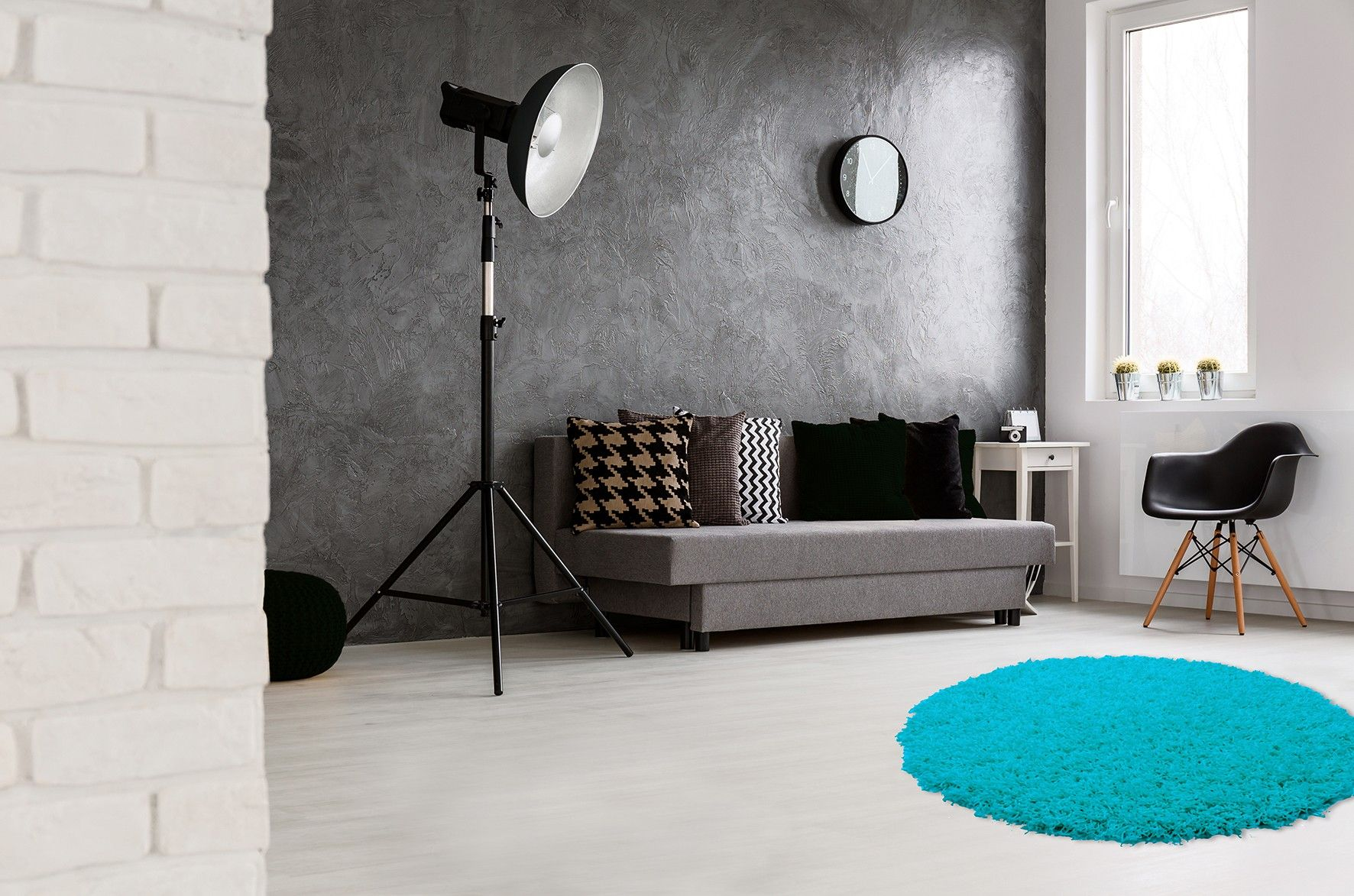 Tapis Rond Uni Hollywood Tapis Bleu