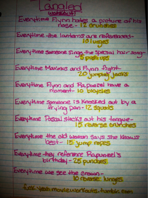 Tangled movie workout!