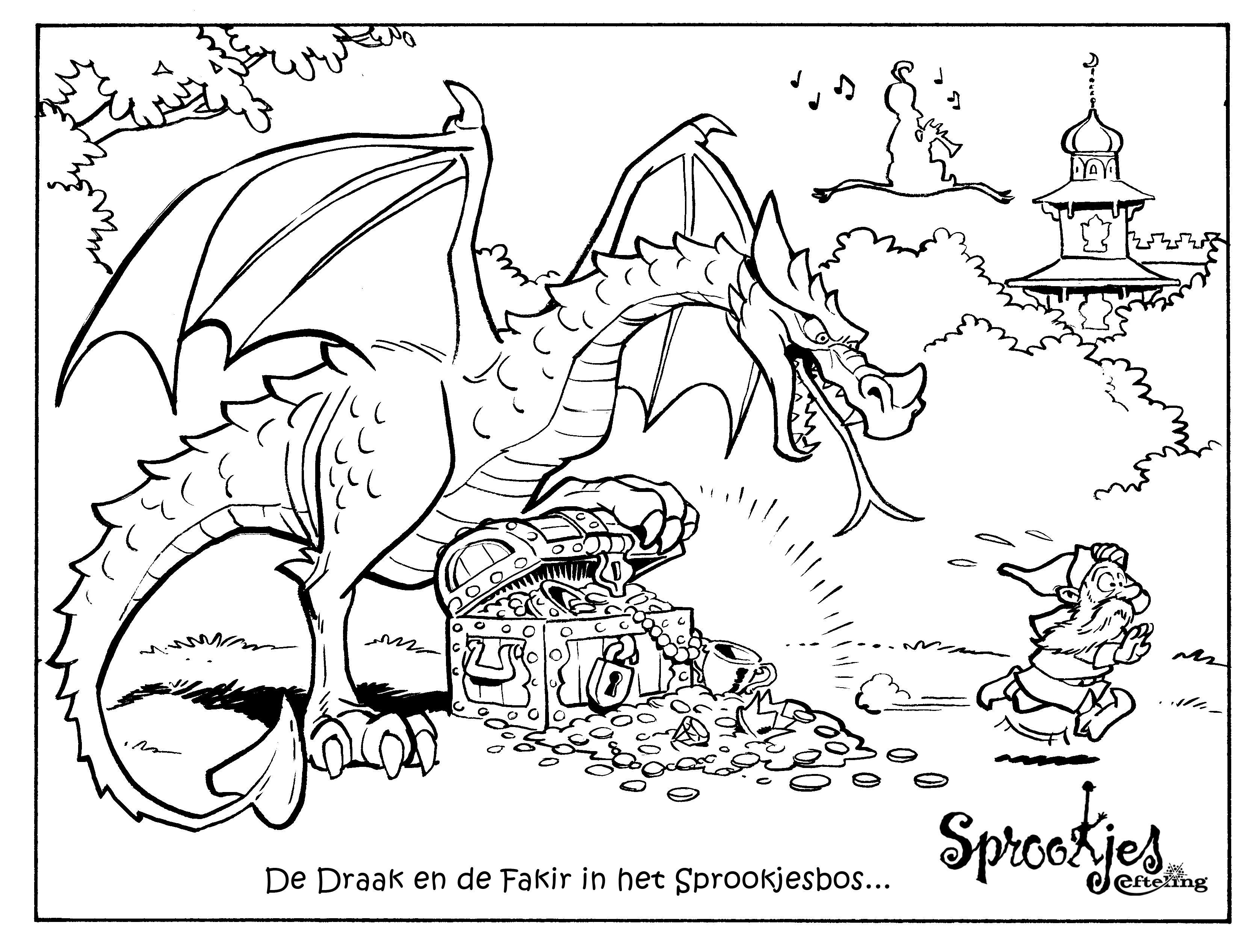 kleurplaten draken en dino